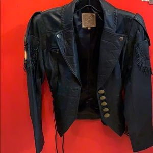 Double D ranch leather jacket with fringe